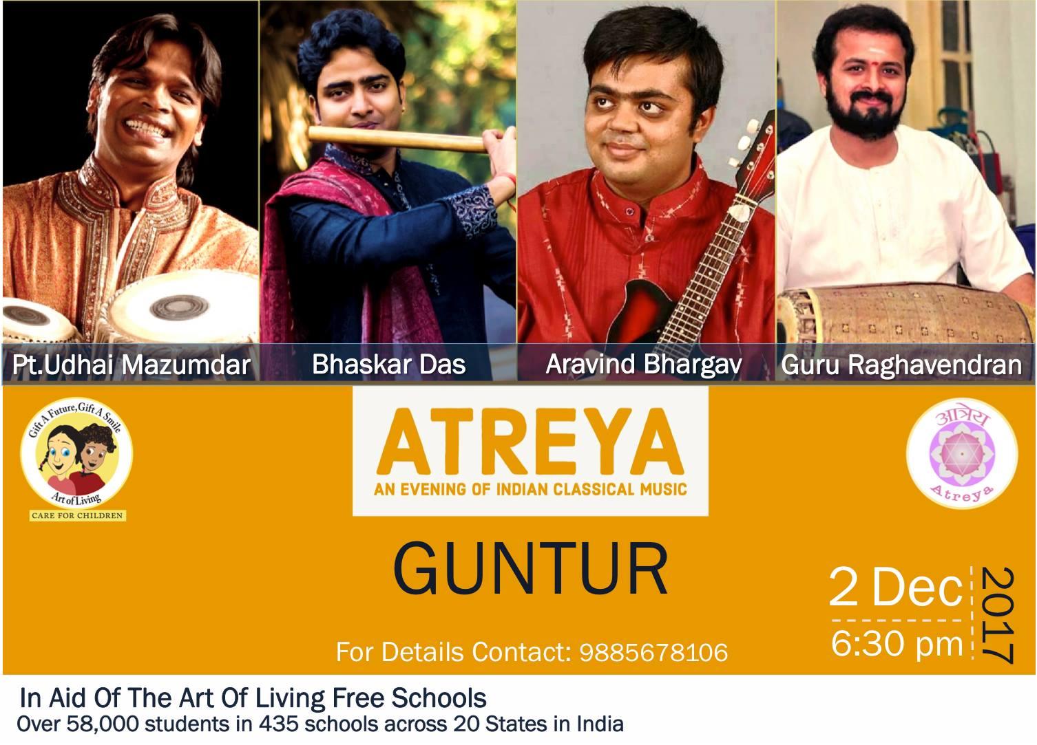 2017 atreya indian classical music concert guntur bansuri mandolin bhaskar das aravind bhargav